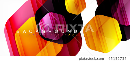 Glossy color hexagons modern composition background, shiny glass design 45152733