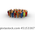 Group of people, 3D rendering 45153367