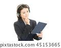 음악을 듣고 여성 45153665
