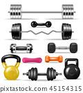 Dumbbell vector fitness gym weight equipment dumb-bells kettlebell illustration bodybuilding set of 45154315