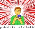 男子驚訝於電子郵件到達智能手機 45162432