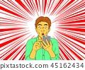 男子驚訝於電子郵件到達智能手機 45162434