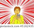 男子驚訝於電子郵件到達智能手機 45162435