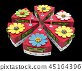 3d Illustration of Holiday triangle Cardboard Cake or pie Box, Packaging For Food, Gift Or Other 45164396