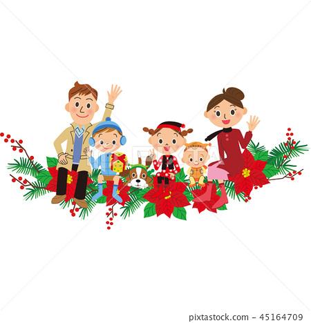 家庭坐聖誕節裝飾 45164709