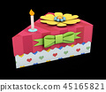 3d Illustration of Holiday triangle Cardboard Cake or pie Box, Packaging For Food, Gift Or Other 45165821