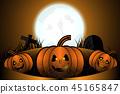 Halloween night concept and Three pumpkins  45165847