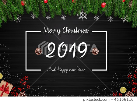 2019 happy new year and Christmas wooden backgroun 45166116