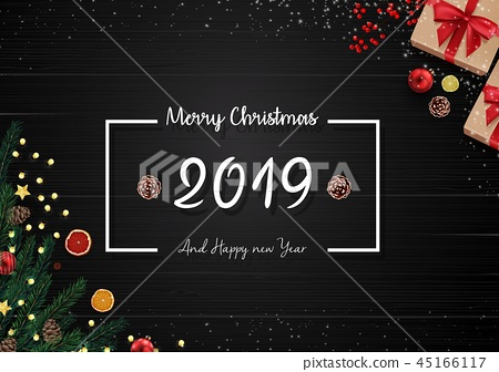 2019 happy new year and Christmas wooden backgroun 45166117