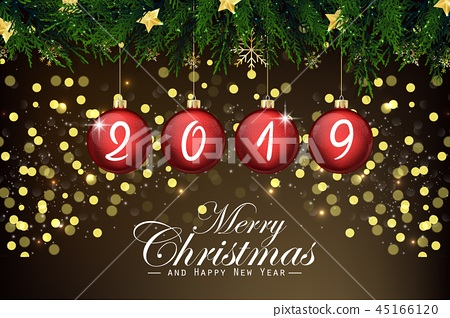 2019 new year card with red Christmas balls 45166120