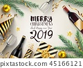 2019 new year card with Christmas background 45166121