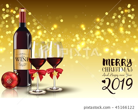 Christmas party with champagne bottle and wineglas 45166122