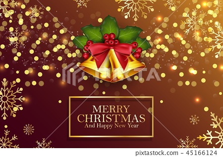 Christmas background golden bells and holly berrie 45166124