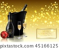 Christmas party with champagne bottle and wineglas 45166125