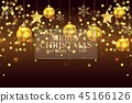 Christmas background with golden balls and snowfla 45166126