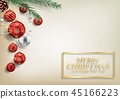 Christmas background with fir branches and red bal 45166223