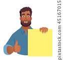 African man holding blank banner. 45167015