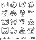 Vector line Map and Geo-location icons set 45167994