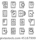 Vector line Mobile apps icons set 45167999