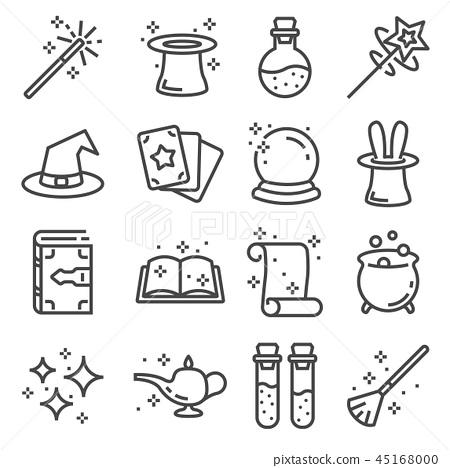Vector line magic icons set. Outlie illustration 45168000