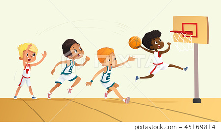 Vector Illustration Of Kids Playing Basketball. Team Playing Game. Team competition. 45169814