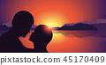 romantic kiss silhouette at beautiful sunset lake and mountain landscape 45170409