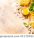 Healthy raw ingredients for italian pasta sauce Carbonara 45170493
