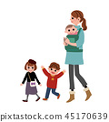 3 children mother outing illustration 45170639