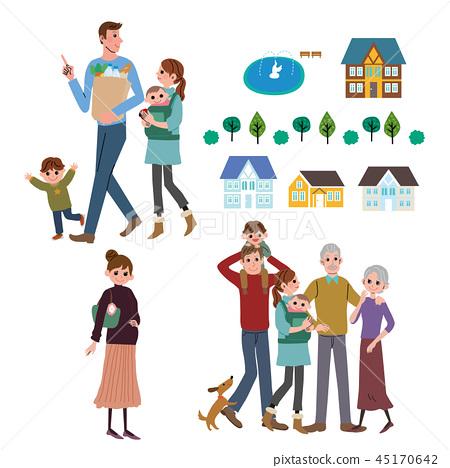 家庭生活方式都市风景例证集合 45170642