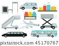 Flat vector set of airport elements. Transport, boarding stairs, carousel with suitcases, chairs 45170767