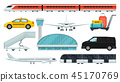 Flat vector set of airport elements. Express train, taxi, airplane, passenger transport, terminal 45170769