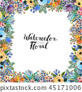 watercolor, floral, greeting 45171006