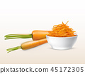 Vector 3d realistic carrots, sliced orange vegetable 45172305
