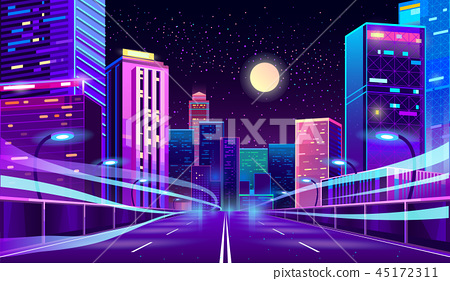 Vector empty road in megapolis at night 45172311