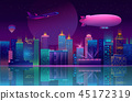 Vector background with night city in neon lights 45172319