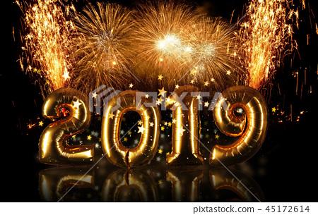 New Year 2019 celebration concept 45172614