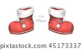 Set of Red boots. Christmas decor, Watercolor 45173337