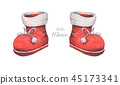 Set of Red boots. Christmas decor, Watercolor 45173341