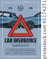 Car insurance vintage poster with road accident 45174251