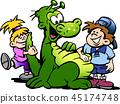 Dinosaur having fun with Kids 45174748