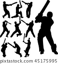 cricket players silhouettes collection 45175995