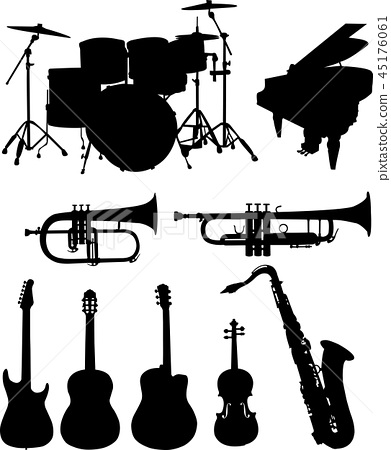 Musical instruments silhouettes collection 45176061