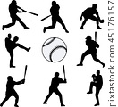 baseball players silhouettes collection 45176157