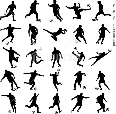 soccer players silhouettes collection 45176179