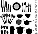 kitchenware, set, silhouette 45176474