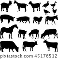 farm animals silhouettes collection 45176512