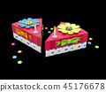 3d Illustration of Holiday triangle Cardboard Cake or pie Box, Packaging For Food, Gift Or Other 45176678