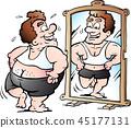 A fat Man as he thinks he looks 45177131