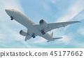 Airplane flying. 3D render 45177662