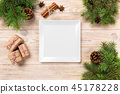 holiday dinner dish concept with new year decor 45178228